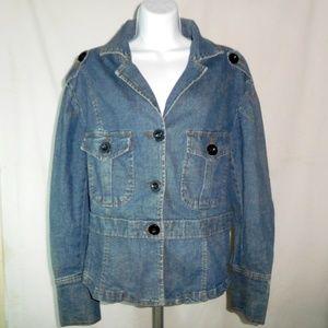 MAGIC JEANS Women Denim Jacket Button Pockets Sz1X